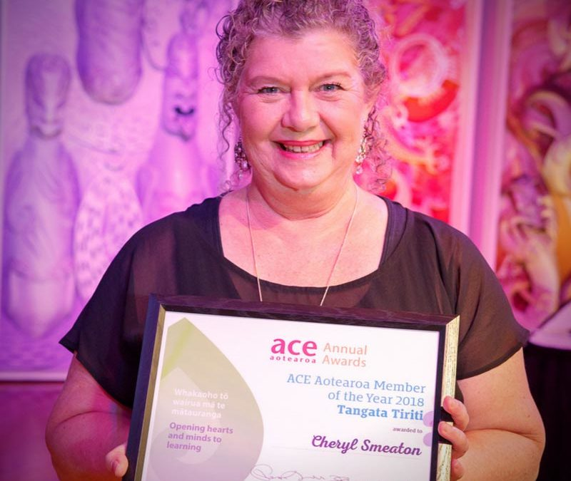 Cheryl Smeaton: 2018 ACE Aotearoa Annual Award for Member of the Year Tangata Tiriti.